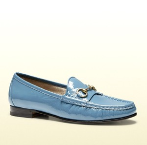 Gucci Blue Horsebit 1953 Soft Patent Leather Loafer It 38/ Us 8 338348 Shoes