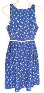 One Clothing short dress Blue & White Birds Back Zip Machine Washable on Tradesy