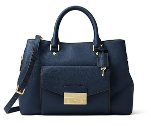 Michael Kors Haley Pebbled Leather Satchel in Navy