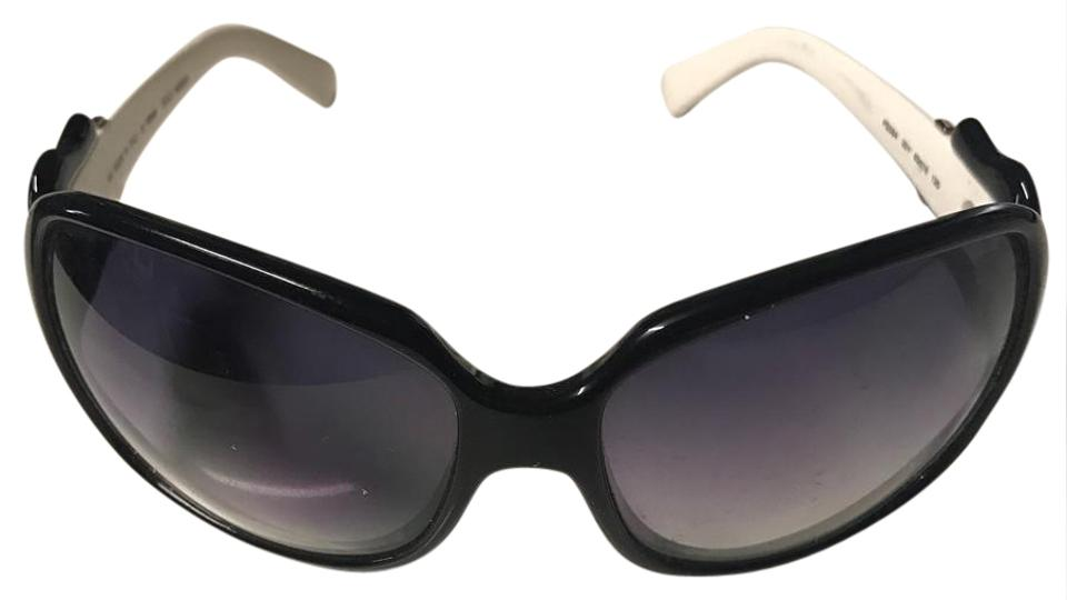 57f965cb1e78 Fendi White and Black Iconic Buckle Design Sunglasses - Tradesy
