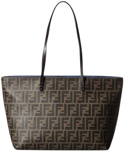Fendi Coated Canvas 8bh198 Logo Leather Tote in Zucca
