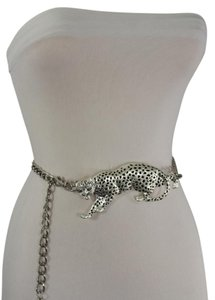 Other Women Hip Waist Thick Silver Metal Fashion Chain Belt Tiger Buckle