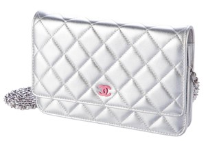 Chanel Woc Wallet On A Chain Silver Metallic Pink Cross Body Bag