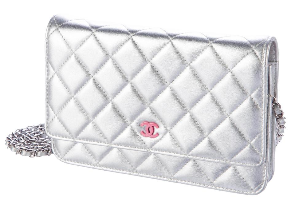 0ca629c86e0e Chanel Classic Flap Clutch Wallet On A Chain Woc Metallic Quilted ...