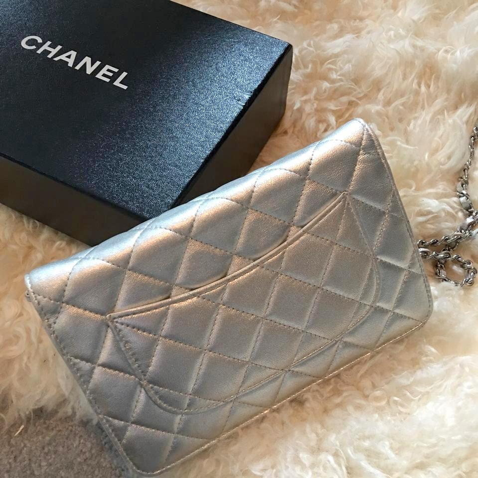 cb2e1043bad8 Chanel Classic Flap Clutch Wallet On A Chain Woc Metallic Quilted Mini  Enamel Silver Pink Lambskin Leather Cross Body Bag - Tradesy