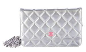 Chanel Wallet On A Chain WOC Metallic Quilted CC Logo Cross Body Mini Bag