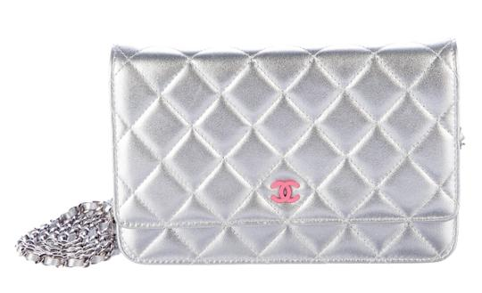 Chanel Silver Pink Wallet On Chain On A Chain Metallic