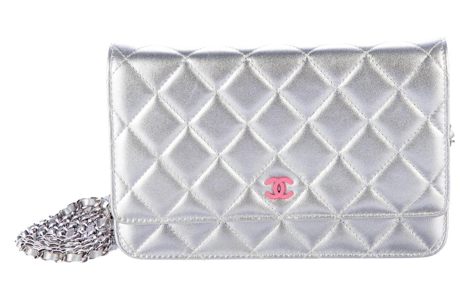 0996d5bd163c Chanel Wallet On A Chain WOC Metallic Quilted CC Logo Cross Body Mini Bag  Image 0 ...