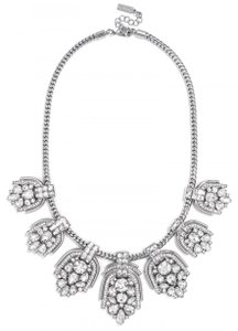 BaubleBar Silver And Clear Laurel Collar Statement Necklace