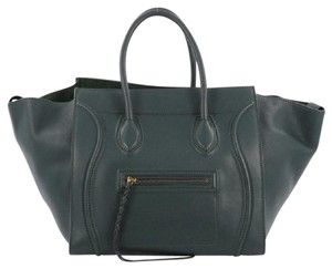 Céline Leather Tote in Green