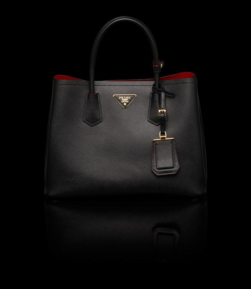prada saffiano double small black with red interior tote bag on sale 54 off totes on sale