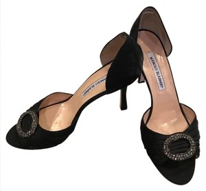 Manolo Blahnik Evening Satin Black Pumps