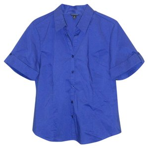 George Short Sleeve Slight Stretch Woman's Woven Button Down Shirt Metro blue