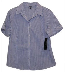 George Woven Slight Stretch Woman's Short Sleeve Button Down Shirt Blue and White Stripe
