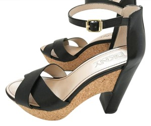 DKNY Strappy Chunky Heel Cork Leather Mary Jane Black Pumps