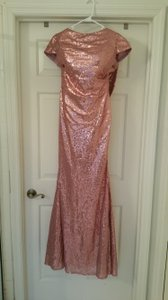 Pink Sequin Gown With Cowl Back Dress