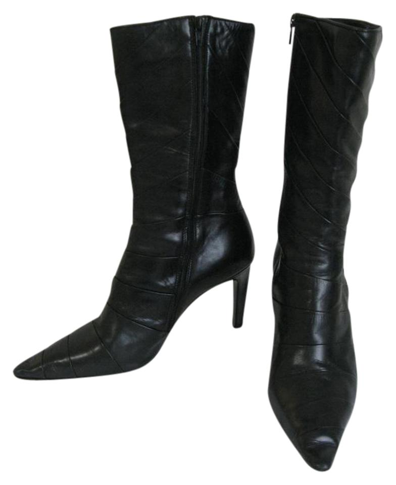 4674a1e9f1a Michel Perry Black Leather Chevron Italy Barneys New York Boots ...
