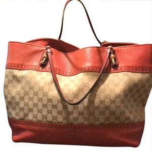 Gucci Tote in orange red leather and light logo canvas