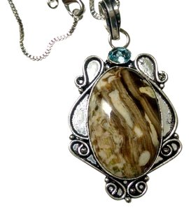 Jasper & Blue Topaz Gemstone Pendant Necklace 925 Silver J748