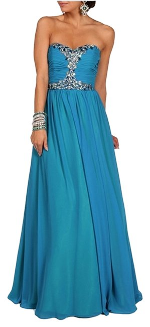 Item - Blue New Bridesmaid Strapless Prom Homecoming Evening Gown Long Formal Dress Size 6 (S)