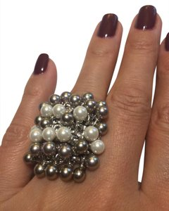 Other Set of 7 stackable rings Silver 925 Simulated Pearl beads Size 8.25