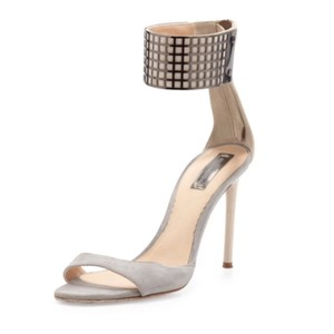 Reed Krakoff Ankle-wrap Grid Gray Sandals