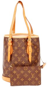 Louis Vuitton Monogram Canvas Leather Bucket Tote in Brown