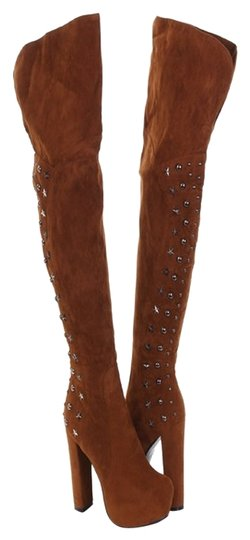 Beyond Studded Thigh High Brown Boots