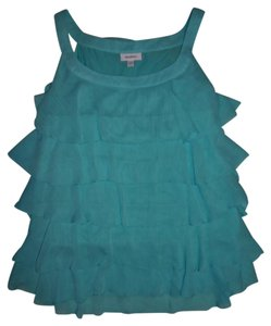 dressbarn Tiers Ruffles Layers Top Teal Green