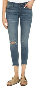 Free People Skinny Destroyed Ankle Blue Skinny Jeans-Medium Wash