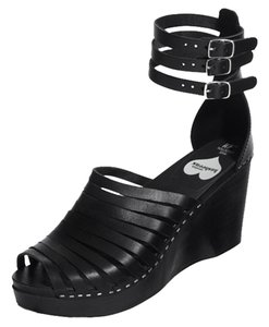 swedish hasbeens H&m Leather Strap Buckle Summer Handmade Black Wedges