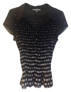 NY Collection Top Black with white polka dots