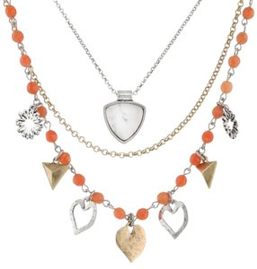 Lucky Brand Lucky Brand Two Tone Pyramid & Hearts Triple Layer Heart Charm Necklace