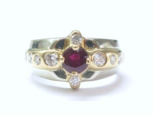 Other Estate Gem Ruby Diamond 2-Tone Jewelry Ring 1.72CT