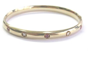 Other Fine Gem Ruby Diamond Yellow Gold Bangle Bracelet 14KT .20Ct