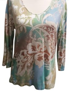 Chico's T Shirt Light blue, green, rust