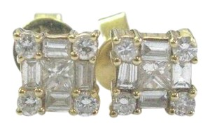 Other 18Kt Multi Shape Diamond Yellow Gold Square Stud Earrings .60Ct