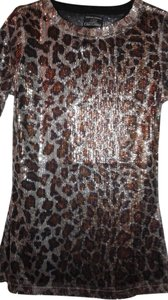 Oleg Cassini Sequins Bling Top Purple & Silver Animal Print