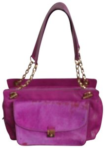 Tory Burch Leather Satchel in Fuchsia