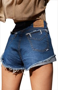 Somedays Lovin Festival High Waisted Free People Boho Cut Off Shorts Blue