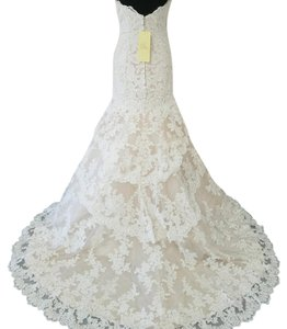 Allure Bridals Champagne and Ivory Lace Feminine Wedding Dress Size 10 (M)