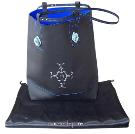 Preload https://img-static.tradesy.com/item/2111356/nanette-lepore-pinkette-button-black-and-sapphire-purse-new-leather-tote-0-0-540-540.jpg