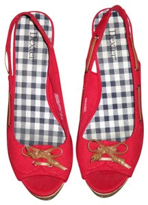 Dexter Slingback Canvas Summer Red Wedges
