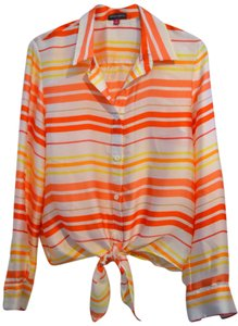 Vince Camuto Longsleeve Summer Button Down Shirt Yellow Orange Striped