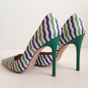 Miu Miu Nautical Stripe D'orsay Green/white/blue Green/Blue/White Pumps