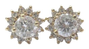 Other Fine Round Cut Diamond Stud Earrings With Jacket Yellow Gold 14Kt .90C