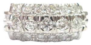 Other Platinum Vintage 3-Row Diamond Jewelry Ring .66CT