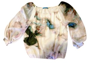Alice + Olivia + Silk-chiffon + Top pastel beige blue pink waterpaint