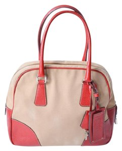 Prada Leather Pebbled Bowling Keys Luggage Tag Satchel in khaki and red
