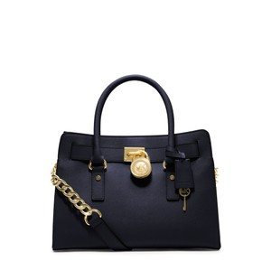 Michael Kors Gold Hardware Lock Charm Classic Saffiano Leather Leather Satchel in Navy